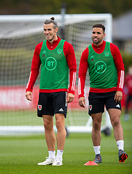 CARDIFF, WALES - Wednesday, September 2, 2020: Wales' captain Gareth Bale (L) and Hal Robson-Kanu during a training session at the Vale Resort ahead of the UEFA Nations League Group Stage League B Group 4 match between Finland and Wales. (Pic by David Rawcliffe/Propaganda)