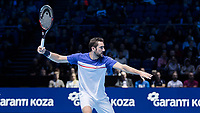Tennis - 2017 Nitto ATP Finals at The O2 - Day One<br /> <br /> Group Boris Becker Singles: Alexander Zverev (Germany) Vs Marin Cilic (Croatia)<br /> <br /> Marin Cilic (Croatia) opens up his body as he prepares to return serve  at the O2 Arena<br /> <br /> COLORSPORT/DANIEL BEARHAM