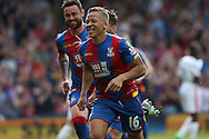 Dwight Gayle of Crystal Palace (16) celebrates after scoring his sides 2nd goal to make it 2-1.Barclays Premier League match, Crystal Palace v Stoke City at Selhurst Park in London on Saturday 7th May 2016. pic by John Patrick Fletcher, Andrew Orchard sports photography.