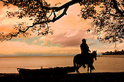 Resident of Ometepe Island brings his horse down by Lake Nicaragua at sunrise.  Ometepe is an island formed by<br />