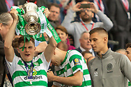 James Forrest holds the William Hill Scottish Cup aloft following their victory today in the William Hill Scottish Cup Final match between Heart of Midlothian and Celtic at Hampden Park, Glasgow, United Kingdom on 25 May 2019.