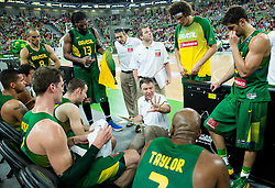 Ruben Magnano, head coach of Brasil with players during friendly basketball match between National Teams of Slovenia and Brasil at Day 2 of Telemach Tournament on August 22, 2014 in Arena Stozice, Ljubljana, Slovenia. Photo by Vid Ponikvar / Sportida