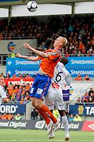 Fotball, <br /> 25.04.2011 , <br /> Tippeligaen  ,<br /> Eliteserien ,<br /> Aalesund FK - Sogndal 1-0 ,<br /> Color line stadion ,  <br /> <br /> Sander Post - aalesund<br /> Ayhee aye Elvis - sogndal<br /> Foto: Richard brevik , Digitalsport