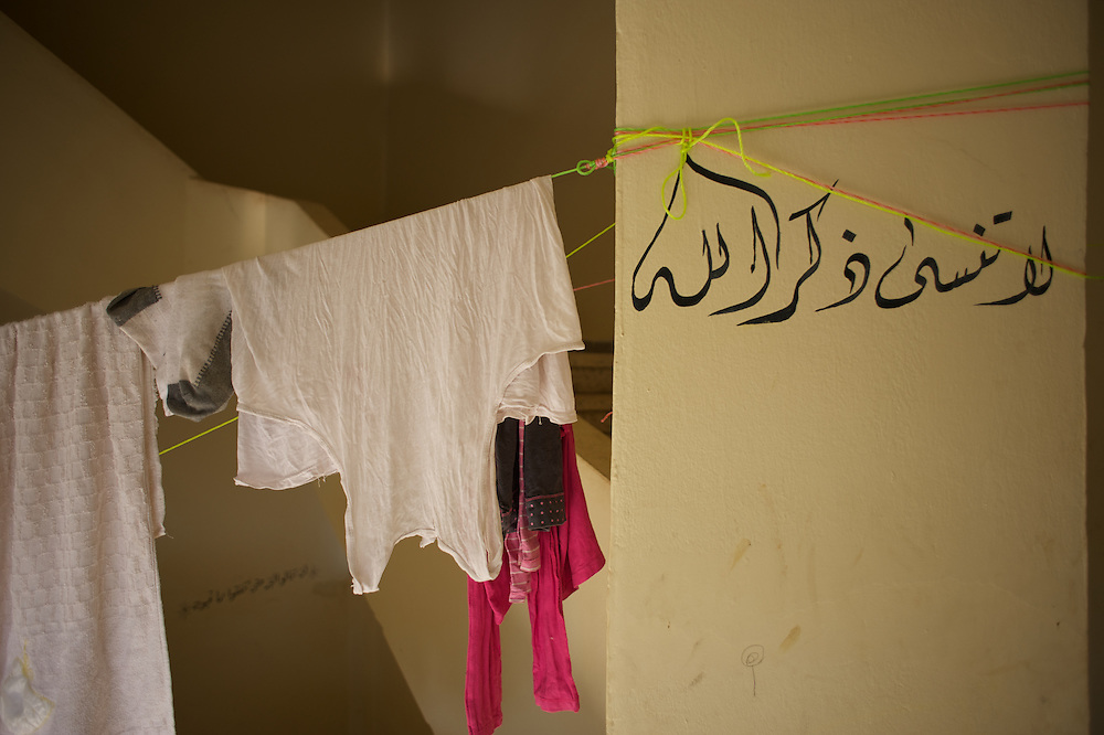 Some pieces of clothing drying at Wadi Khaled's refugee center for Syrian families in Lebanon.