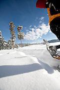 Snowshoeing in summit county near Frisco, Colorado.
