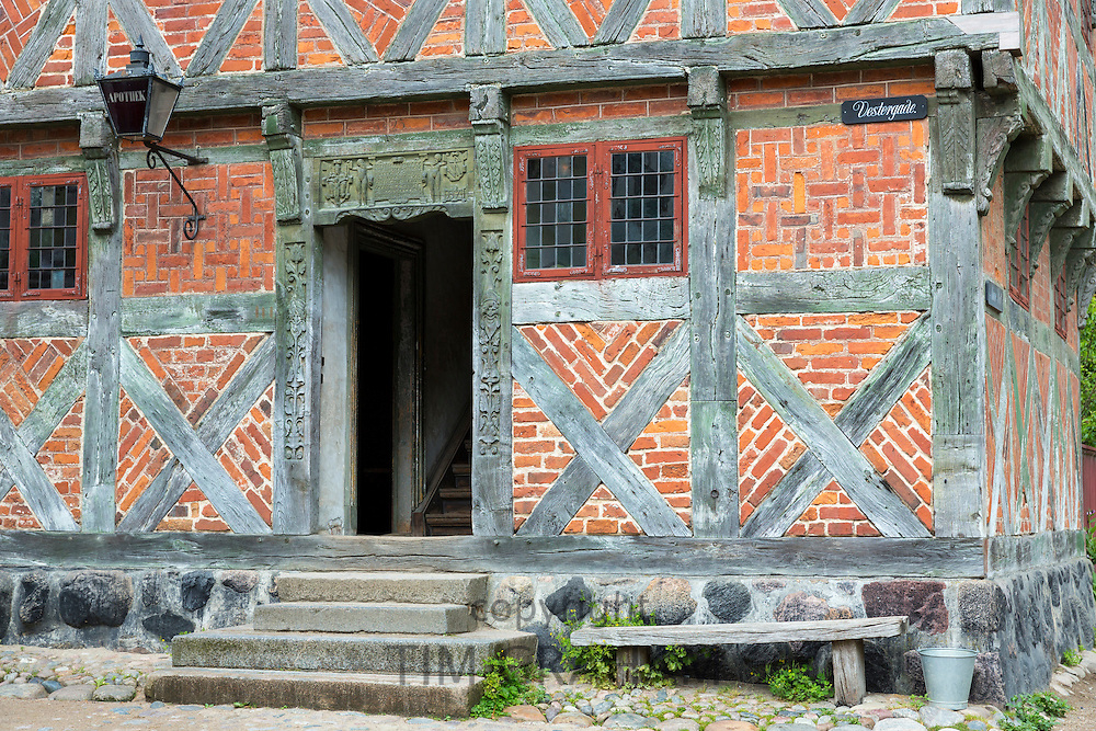 Half-timbered building at Den Gamle By, The Old Town, open-air folk museum at Aarhus, East Jutland, Denmark