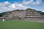Mesoamerica pyramid called building 16 in the Arroyo Group at the pre-Columbian archeological complex of El Tajin in Tajin, Veracruz, Mexico. El Tajín flourished from 600 to 1200 CE and during this time numerous temples, palaces, ballcourts, and pyramids were built by the Totonac people and is one of the largest and most important cities of the Classic era of Mesoamerica.