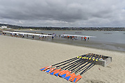 San Diego, California. USA.  General Views of the Boat Storage and Beach boating area. crews at the 2013 Crew Classic Regatta, Mission Bay.  06:28:50.  Saturday  06/04/2013   [Mandatory Credit. Peter Spurrier/Intersport Images]  ..