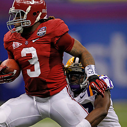 Jan 9, 2012; New Orleans, LA, USA; Alabama Crimson Tide running back Trent Richardson (3) during the first half of the 2012 BCS National Championship game against the LSU Tigers at the Mercedes-Benz Superdome.  Mandatory Credit: Derick E. Hingle-US PRESSWIRE