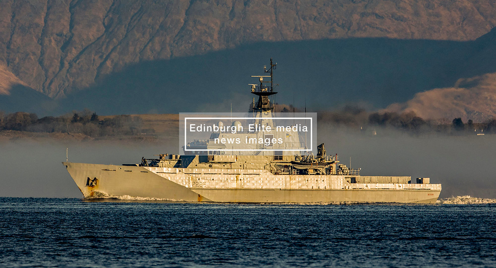 Navigation training ship and offshore patrol vessel HMS Severn in the coastal waters of the Firth of Lorne on the west coast of Scotland near Oban…….. (c) Stephen Lawson   Edinburgh Elite media