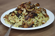A plate of Mujaddara (also moujadara - lentils with rice and roasted onions)