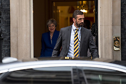 July 19, 2017 - London, United Kingdom - British Prime Minister, Theresa May, leaves 10 Downing Street for the weekly Prime Minister's Questions (PMQs) at the House of Commons, London on July 19, 2017. (Credit Image: © Alberto Pezzali/NurPhoto via ZUMA Press)
