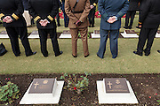 Men in military uniforms  during the Remembrance Day ceremonies at the Commonwealth War Cemetery in Hodogaya, Yokohama, Japan. Wednesday November 11th 2015
