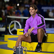 2019 US Open Tennis Tournament- Day Fourteen.  Winner Rafael Nadal of Spain with the winners trophy after his win against Danill Medvedev of Russia in the Men's Singles Final on Arthur Ashe Stadium during the 2019 US Open Tennis Tournament at the USTA Billie Jean King National Tennis Center on September 8th, 2019 in Flushing, Queens, New York City.  (Photo by Tim Clayton/Corbis via Getty Images)