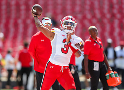 Sep 4, 2021; College Park, Maryland, USA; Maryland Terrapins quarterback Taulia Tagovailoa (3) warms up prior to their game against the West Virginia Mountaineers at Capital One Field at Maryland Stadium. Mandatory Credit: Ben Queen-USA TODAY Sports