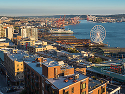 United States, Washington, Seattle, waterfront with Great Wheel and Port of Seattle, viewed from The Nest bar and restaurant