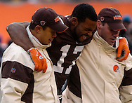 MORNING JOURNAL/DAVID RICHARD<br /> Braylon Edwards, center, is helped off the field after injuring his leg on a pass play yesterday in the fourth quarter.