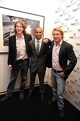 Left to right, FREDDIE HUNT, LEWIS HAMILTON and TOM HUNT at the TAG Heuer British Formula 1 Party at the Mall Galleries, London on 15th September 2008.