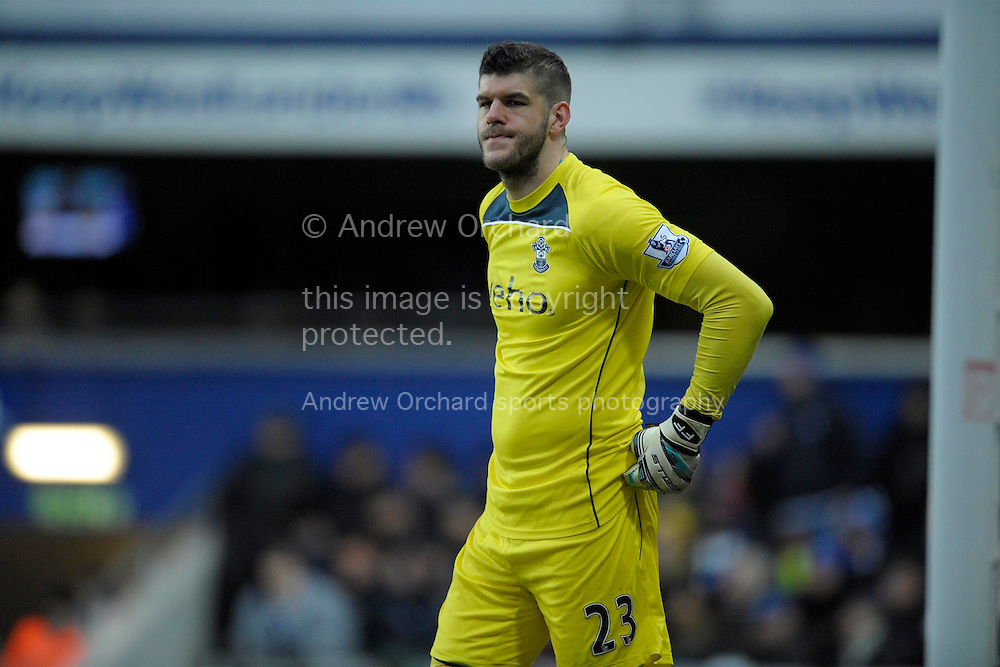 Goalkeeper Fraser Forster of Southampton looking on. Barclays Premier league match, Queens Park Rangers v Southampton at Loftus Road in London on Saturday 7th Feb 2015. pic by John Patrick Fletcher, Andrew Orchard sports photography.