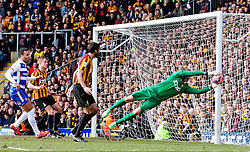 Bradford City's Ben Williams makes a save- Photo mandatory by-line: Matt McNulty/JMP - Mobile: 07966 386802 - 07/03/2015 - SPORT - Football - Bradford - Valley Parade - Bradford City v Reading - FA Cup - Quarter Final