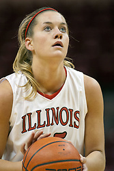 26 November 2005: Redbird Holly Hallstrom takes a free shot. The Illinois State Redbirds were triumphant over the Northern Illinois Huskies 60 - 50 at the final buzzer.  The game was played at Redbird Arena on the campus of Illinois State University in Normal IL