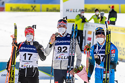 28.02.2021, Obertilliach, AUT, IBU Jugend und Junioren WM, Obertilliach, Einzel 15 km Junioren, Siegerehrung, im Bild v.l. Silbermedaillen Gewinner 2021 Alex Cisar (SLO), Goldmedaillen Gewinner und Weltmeister 2021 Philipp Lipowitz (GER), Bronzemedaillen Gewinner 2021 Emilien Claude (FRA) // f.l. Silver medals winner 2021 Alex Cisar of Slovenia Gold medal winners and world champions 2021 Philipp Lipowitz of Germany Bronze medal winner 2021 Emilien Claude of France during the winner ceremony for the juniors male 15 km individual competition of IBU Biathlon Youth and Junior World Championships in Obertilliach, Austria on 2021/02/28. EXPA Pictures © 2021, PhotoCredit: EXPA/ Lukas Huter