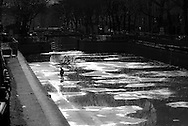 France. Paris,  11th district.  Canal Saint martin is empty for cleaning