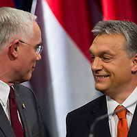 Minister Zoltan Balog (L) and Viktor Orban (R) prime minister of Hungary talk after the annual state-of-the-nation speech in Budapest, Hungary on February 22, 2013. ATTILA VOLGYI