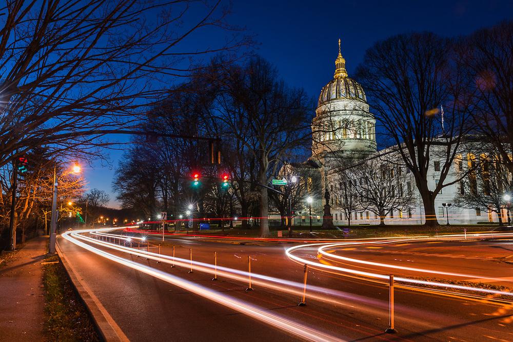 Dusk over the Capitol building and Kanawha Boulevard. Charleston, West Virginia.