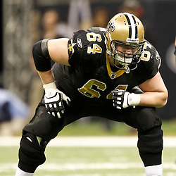 December 4, 2011; New Orleans, LA, USA; New Orleans Saints offensive tackle Zach Strief (64) against the Detroit Lions during a game at the Mercedes-Benz Superdome. The Saints defeated the Lions 31-17. Mandatory Credit: Derick E. Hingle-US PRESSWIRE