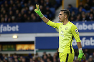 Everton Goalkeeper Joel Robles signals for two players in the wall. Premier league match, Everton v Sunderland at Goodison Park in Liverpool, Merseyside on Saturday 25th February 2017.<br /> pic by Chris Stading, Andrew Orchard sports photography.