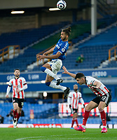 Football - 2020 / 2021 Premier League - Everton vs Sheffield United - Goodison Park<br /> <br /> <br /> Everton's Dominic Calvert-Lewin wins the header<br /> <br /> <br /> COLORSPORT/TERRY DONNELLY