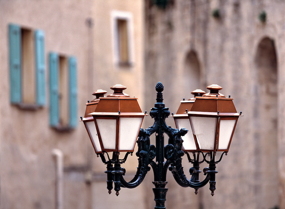 The main square in the provencal village of Forcalquier is lined with beautifully crafted street lamps to compliment the surrounding architecture.