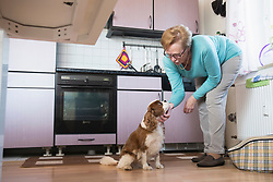 Old woman stroking her pet dog in kitchen