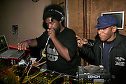 """Mos Def and Questlove at The Roots Album realease party for """"Roots Down"""" at Sutra on April 29, 2008"""".. The Legendary Roots Crew, the influential, Grammy Award-winning American band from Philadelphia, Pennsylvania, famed for a heavily jazzy sound and live instrumentation, have made 10 Albums to date."""
