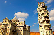 Leaning Tower of Pisa - Pizza  del Miracoli - Pisa - Italy Leaning Tower of Pisa - Piazza  del Miracoli - Pisa - Italy .  The Leaning Tower of Pisa (torre pendente di Pisa) or simply the Tower of Pisa  is the campanile, or freestanding bell tower, of the cathedral of the Italian city of Pisa, known worldwide for its nearly four-degree lean, the result of an unstable foundation. The Leaning Tower of Pisa is situated behind the Pisa Cathedral and is the third-oldest structure in the city's Cathedral Square (Piazza del Duomo). The height of the Leaning Tower of Pisa is 55.86 metres (183.27 feet) from the ground on the low side and 56.67 metres (185.93 feet) on the high side. The width of the walls at the base is 2.44 m (8 ft 0.06 in). The Leaning Tower of Pisa has 296 or 294 steps; the seventh floor has two fewer steps on the north-facing staircase. The Leaning Tower of Pisa began to lean during construction in the 12th century, due to soft ground which could not properly support the structure's weight, and it worsened through the completion of construction in the 14th century. By 1990, the tilt of the tower had reached 5.5 degrees .<br /> <br /> Visit our ITALY HISTORIC PLACES PHOTO COLLECTION for more   photos of Italy to download or buy as prints https://funkystock.photoshelter.com/gallery-collection/2b-Pictures-Images-of-Italy-Photos-of-Italian-Historic-Landmark-Sites/C0000qxA2zGFjd_k<br /> .<br /> <br /> Visit our MEDIEVAL PHOTO COLLECTIONS for more   photos  to download or buy as prints https://funkystock.photoshelter.com/gallery-collection/Medieval-Middle-Ages-Historic-Places-Arcaeological-Sites-Pictures-Images-of/C0000B5ZA54_WD0s