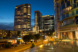 United States, Washington, Bellevue. Downtown buildings at dusk.