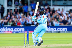 Jofra Archer of England is bowled by James Neesham of New Zealand - Mandatory by-line: Robbie Stephenson/JMP - 14/07/2019 - CRICKET - Lords - London, England - England v New Zealand - ICC Cricket World Cup 2019 - Final