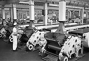 28/05/1962<br /> 05/28/1962<br /> 28 May 1962<br /> Fry-Cadbury factory on the Malahide Road, Dublin. Picture shows four feed belts supplying mint filled centres to the main production line.