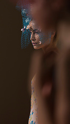 © Licensed to London News Pictures. 13/09/2013. London, England. Presentation of Spring/Summer 2014 collection by designer Ekaterina Kukhareva at Fashion Scout, Freemason's Hall, during London Fashion Week. Millinery Designer: Lara Jensen. Photo credit: Bettina Strenske/LNP