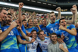Players of Slovenia and fans celebrate after volleyball match between National teams of Slovenia and Belgium in 2nd Round of 2018 FIVB Volleyball Men's World Championship qualification, on May 28, 2017 in Arena Stozice, Ljubljana, Slovenia. Photo by Morgan Kristan / Sportida