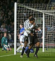 Photo: Andrew Unwin.<br />Newcastle United v Everton. The Barclays Premiership. 25/02/2006.<br />Newcastle's Nolberto Solano (R) celebrates his goal with Shola Ameobi.