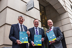 Lobbyists from the High Speed Rail for Liverpool Campaign deliver their Independent Economic Study for HS2 and the Liverpool City Region to the Department for Transport at Great Minster House in Wesminster, London. Pictured from left to right, Robert Hough, Philip Davies and Liverpool City Councillor Liam Robinson.
