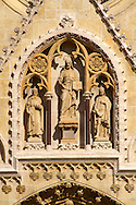 The Neo Gothic statues of the Cathedral of the Assumption of the Blessed Virgin Mary, Zagreb, Croatia .<br /> <br /> Visit our MEDIEVAL PHOTO COLLECTIONS for more   photos  to download or buy as prints https://funkystock.photoshelter.com/gallery-collection/Medieval-Middle-Ages-Historic-Places-Arcaeological-Sites-Pictures-Images-of/C0000B5ZA54_WD0s