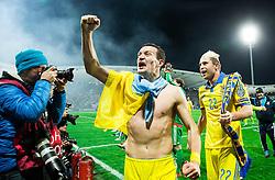 Artem Fedetskiy (UKR) and Artem Kravets (UKR) celebrate after the UEFA EURO 2016 Play-off for Final Tournament, Second leg between Slovenia and Ukraine, on November 17, 2015 in Stadium Ljudski vrt, Maribor, Slovenia. Photo by Vid Ponikvar / Sportida