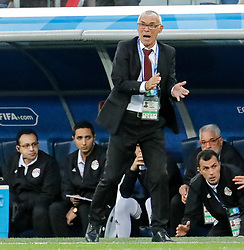 June 19, 2018 - Saint Petersburg, Russia - Egypt national team head coach Hector Cuper (C) during the 2018 FIFA World Cup Russia group A match between Russia and Egypt on June 19, 2018 at Saint Petersburg Stadium in Saint Petersburg, Russia. (Credit Image: © Mike Kireev/NurPhoto via ZUMA Press)