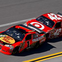 April 17, 2011; Talladega, AL, USA; NASCAR Sprint Cup Series driver Juan Pablo Montoya (42) drafts Jamie McMurray (1) during the Aarons 499 at Talladega Superspeedway.   Mandatory Credit: Derick E. Hingle