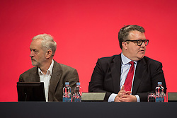 © Licensed to London News Pictures . 27/09/2015 . Brighton , UK . JEREMY CORBYN and TOM WATSON at the 2015 Labour Party Conference . Photo credit : Joel Goodman/LNP