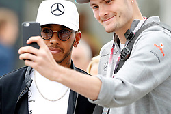 Mercedes' Lewis Hamiton meets fans during third practice of the 2017 British Grand Prix at Silverstone Circuit, Towcester.