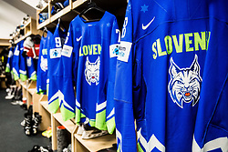 Jerseys for players in Dressing room of Team Slovenia at the 2017 IIHF Men's World Championship, on May 11, 2017 in AccorHotels Arena in Paris, France. Photo by Vid Ponikvar / Sportida